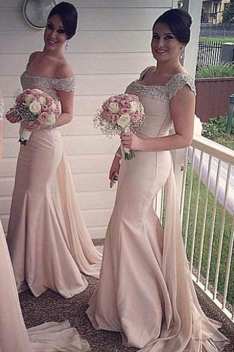 Mermaid Chiffon Bridesmaid Dresses Sexy Scoop Capped Sleeve Backless Beads Crystal Pleats Top Selling Floor-Length Formal Dress