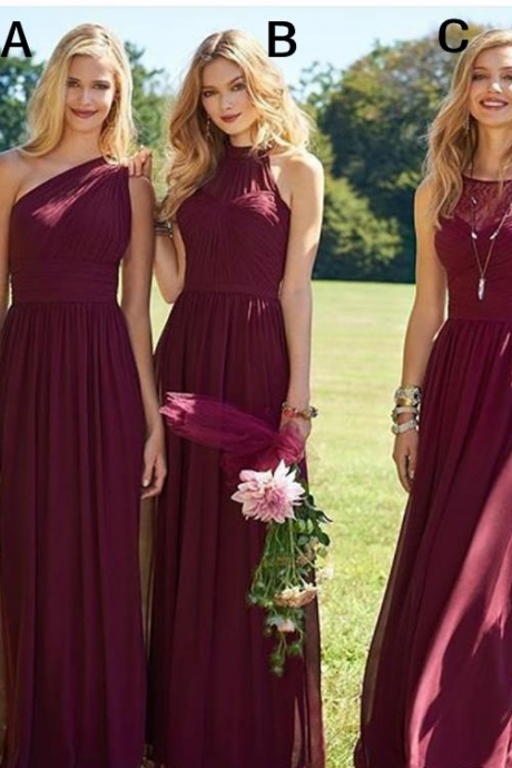 Hot Wine Bridesmaid Dresses Chiffon A Line Floor Length Beach Wedding Guest Dresses Burgundy Long Maid of Honor Gowns Cheap