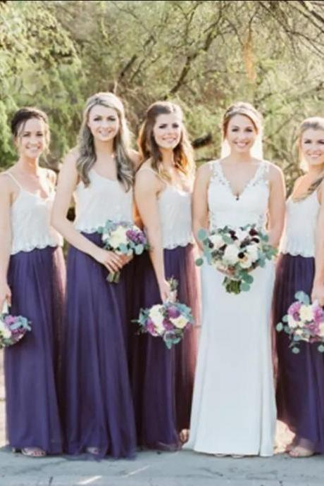 Purple Country Bridesmaid Dresses Straps V Neck White Lace Top A Line Tulle Maid Of Honor Gowns Custom Made Wedding Party Wear