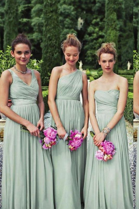 Perfect Matching 3 Styles Long Mint Chiffon Bridesmaid Dresses One Shoulder A-line Floor Length Wedding Party Prom Gown