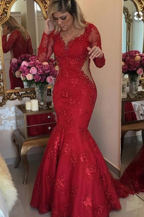 Gorgeous v-neck red mermaid gown gown, evening gown.