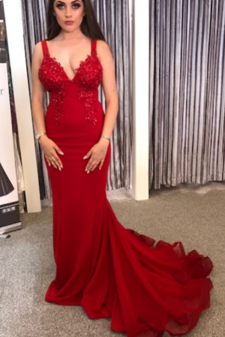 Red Mermaid Long Prom Dress, Gorgeous Prom Dress Evening Dress,