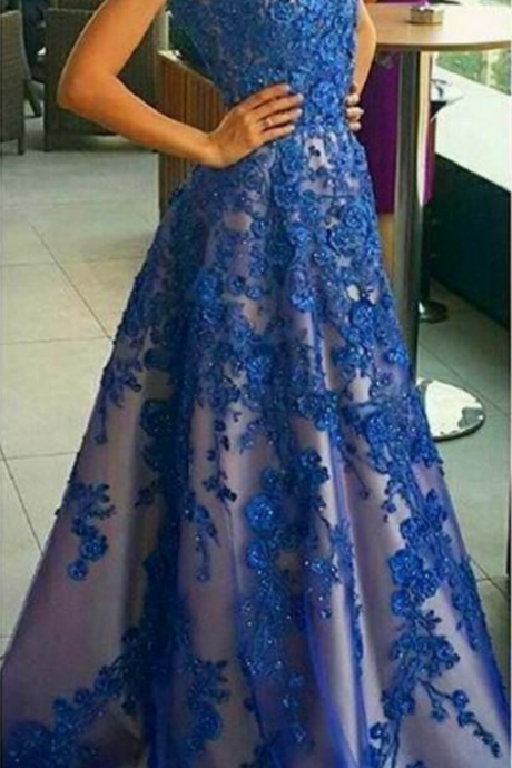 Charming Tulle Blue Apppliques Evening Dress, Sexy Beaded Formal Evening Gown