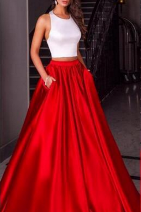 Cheap Modest Two Pieces White Red Satin Prom Dresses Evening Party Sleeves Party Gown Two Pieces Dresses