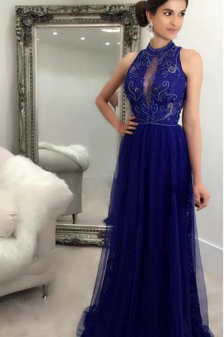 Royal Blue Long Prom Dresses High Neck Lace Tulle Beading Party Dress evening Dress