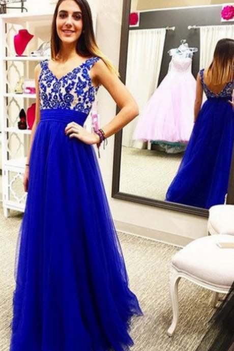 Royal Blue Embroidery Empire Waist A-line Tulle Prom Dresses