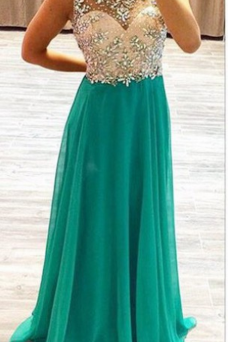 Green Backless evening Dresses,Beading Sequin Prom Dresses, A-line Chiffon Prom Dresses, Pageant Gowns