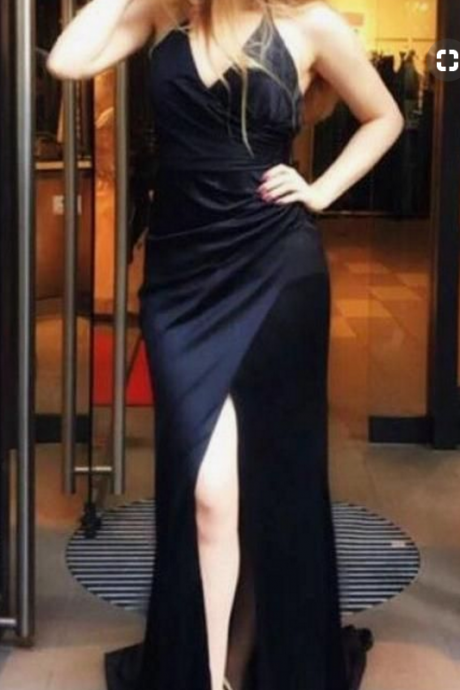 black long prom dress, prom dress with slit, formal evening dress party dress