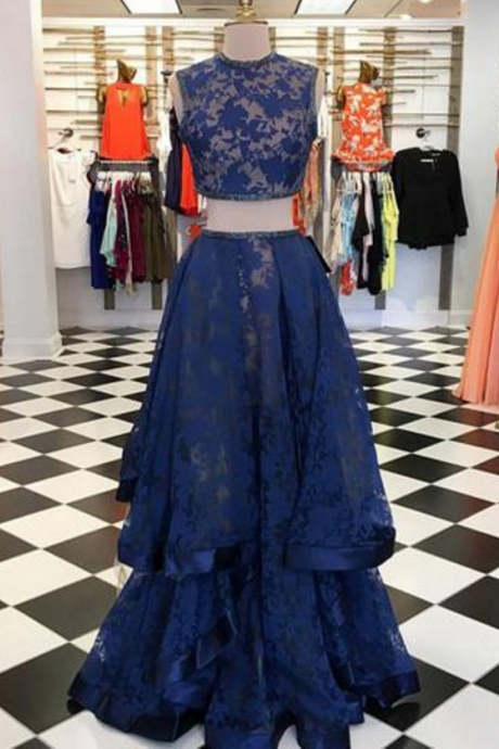 Two Pieces Long Dark Blue Lace Prom Dress, Dark Blue Evening Dress