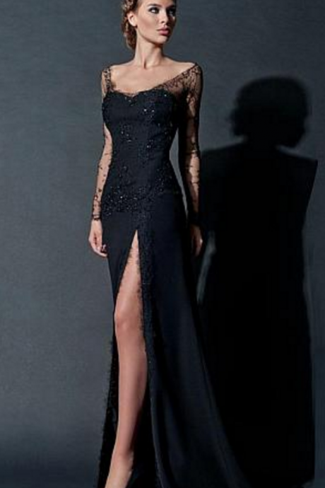 Sexy Satin and Lace Off-the-Shoulder Neckline Sheath Evening Dress with Rhinestones, Black Prom Dresses, Sexy Open Back Prom Party Dress, Sexy Woman Dresses