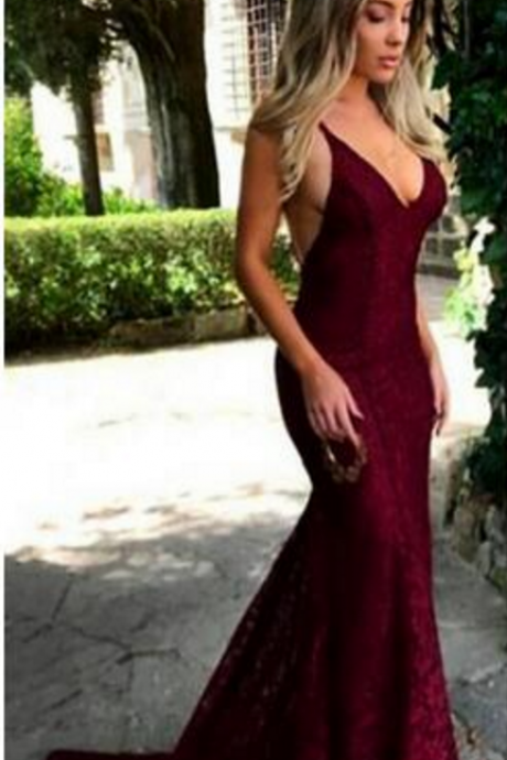Glamorous Maroon V Neck Lace Evening Dress Mermaid Long Sweep Train Open Back Party Prom Dresses Custom Made Special Occasion Dresses