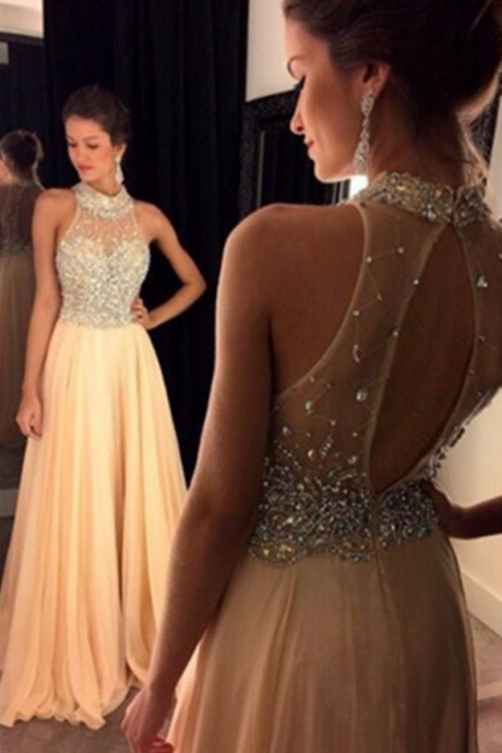 Halter Beaded Long Prom Dresses,Open Back Evening Dresses,Halter Prom Dress,A-line Party Prom Dresses,Prom