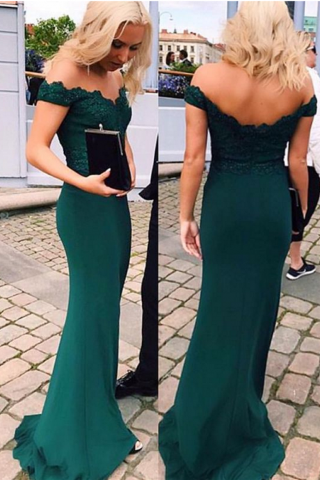 Emerald Green Off-the-Shoulder Lace Appliqués Mermaid Long Prom Dress, Evening Dress