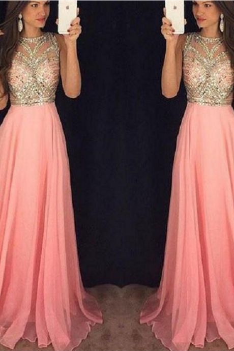 Pink Beading Chiffon Long Prom Dress A-line Sleeveless Evening Gowns Custom Made Prom Dress
