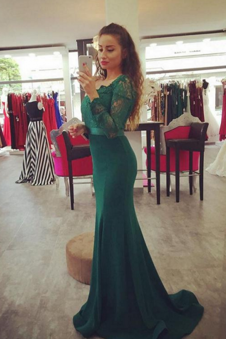 Long Sleeve Mermaid Prom Dresses ,Sweetheart Prom Dress,Evening Gowns For Women