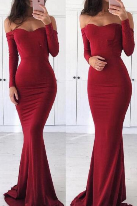 Prom Dress,Off Shoulder Prom Dress,Mermaid Long Sleeves Prom/Evening Dress,Long Prom Dress, Sexy Mermaid Red Graduation Dress