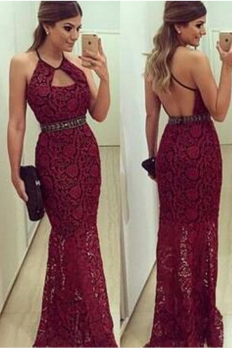 Halter Prom Dresses, Lace Prom Dresses, burgundy Prom Dresses, Backless Evening Dresses, Sexy Party Dresses, Custom Dresses