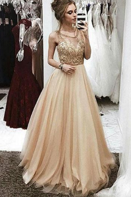Champagne round neck prom dress,beaded long prom dresses, champagne evening dress