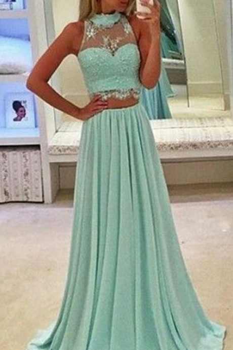 Prom Dresses,Mint green Lace Prom Dress,Prom Gown,Prom Dresses,Chiffion Evening Gowns,Evening Gown