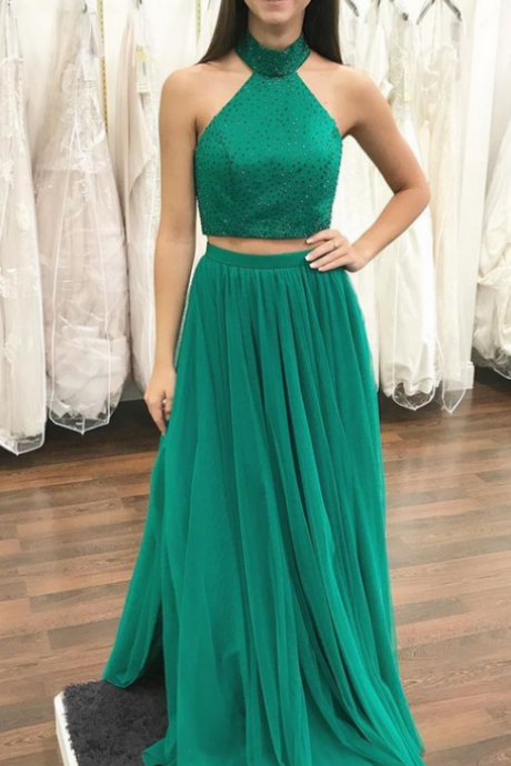 Green Tulle A-line Prom Dresses Long Two Piece Evening Dresses Beaded Formal Gowns Sexy Halter Party Dress for Teen Girls