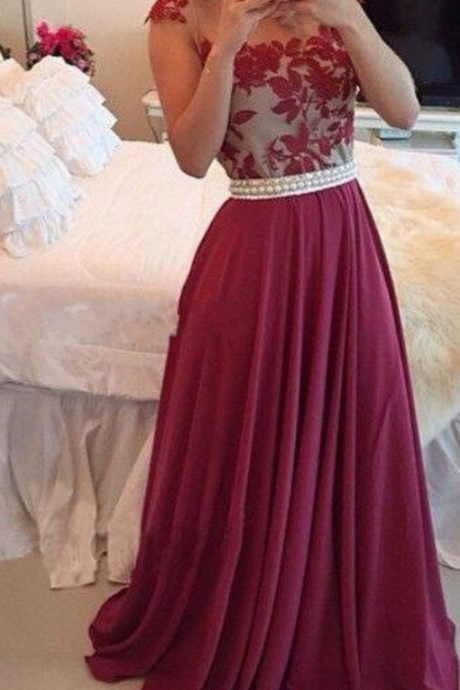 Wine Red A-line Jewel Open Back Appliques Chiffon Prom Dress,Floor length Prom Dress,2017 prom dress,Sexy Party Dress