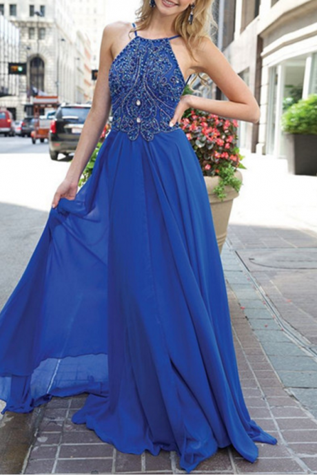 Blue Prom Dress,Beaded Prom Dress,Long Prom Dress,Halter Prom Dress,Backless Prom Dress