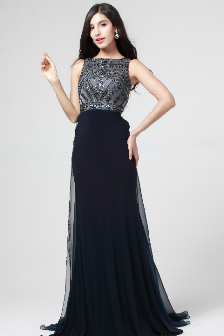 Elegant-design-for-ladies-scoop-neck-cap-short-sleeve-empire-waist-floor-length-crystal-bead-high Slit Spandex Evening Dresses