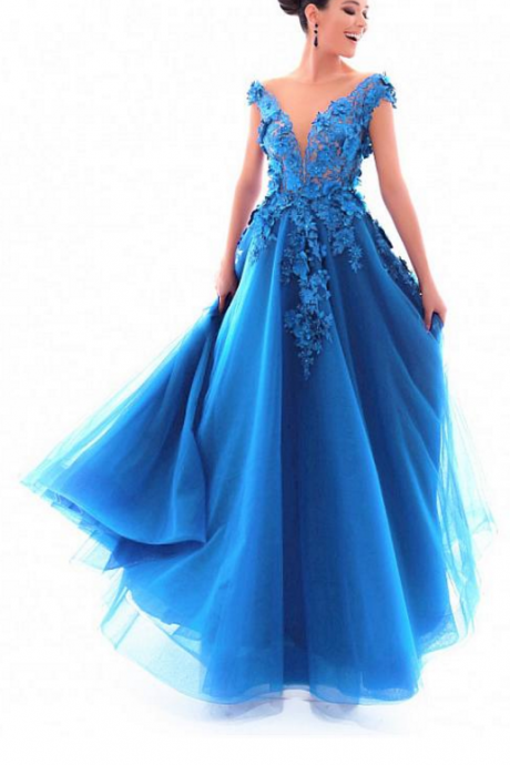 Chic Tulle Jewel Neckline Cap Sleeves A-line Prom Dress With Lace Appliques & 3D Flowers With Beadings