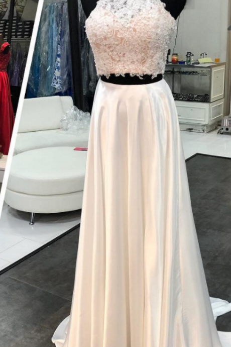 Two Piece Prom Dresses Long,Lace Appliques Halter Neck Prom Dresses