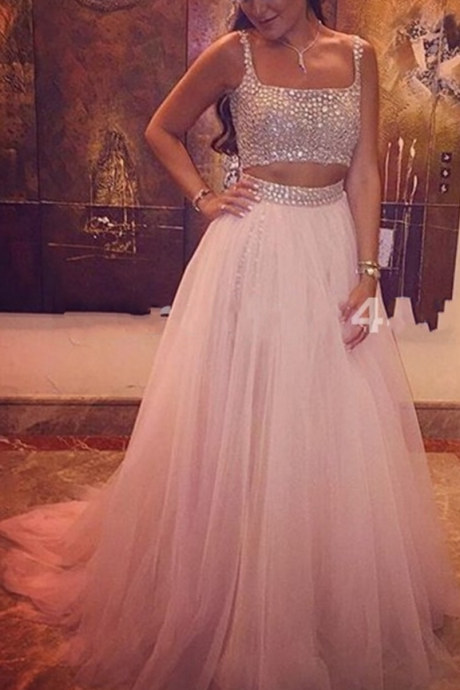 Long Light Pink Prom Dress Women Crystal Tulle 2 Two Pieces Prom Dresses,