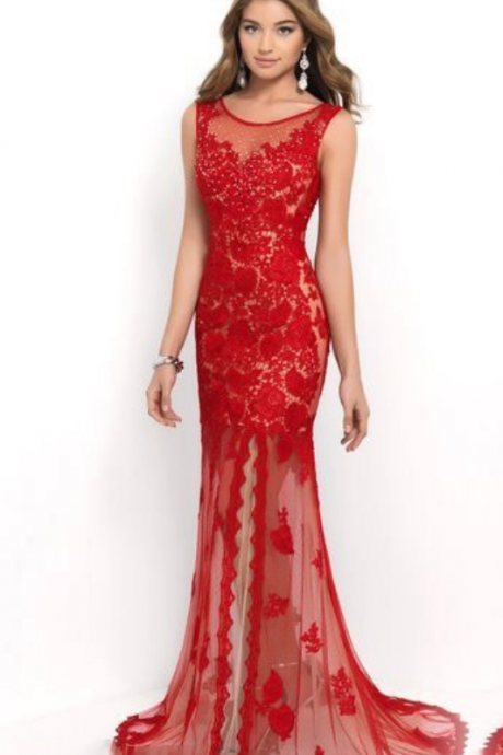 Red Prom Dress Mermaid Prom Dress,handmade Prom Dress , sexy Prom Dress,Formal Dresses, Long Prom Dresses, Floor-Length Prom Dresses,Blackless Prom Dresses