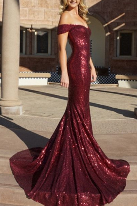 Charming Prom Dress, Off Shoulder Mermaid Prom Dresses, Sexy Burgundy Formal Evening Dress
