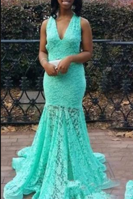 Charming Prom Dress,mint Prom Dress,Mermaid Prom Dress,chiffon Prom Dress,sexy Evening Dress