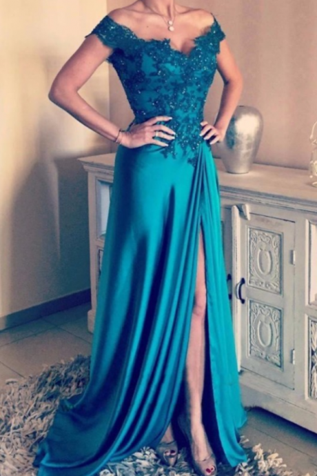 Off The Shoulder Prom Dress, A Line Long Prom Dress, Sexy V Neck Party Dress,Cap Sleeve Prom Dress, Split Side Chiffon Formal Evening Dress, Elegant Party Dress, Hunter Green Lace Appliques Prom Dress,Vestidos De Festa