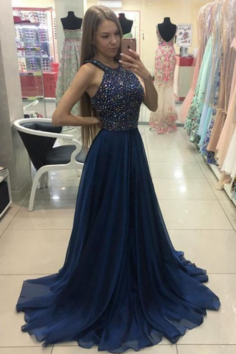 Navy Blue Long Chiffon Beaded Prom Dress New A Line Evening Dress