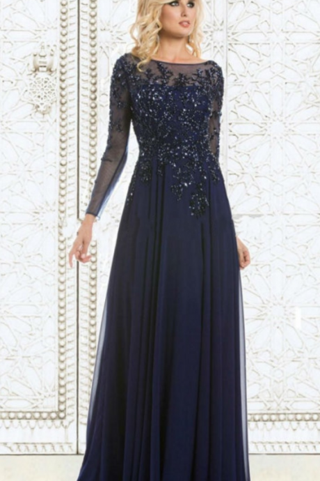 New Arrival Formal Dresses Evening Long Navy Blue Lace Crystals Mother Of The Bride Dress Long Sleeve Party Evening Gowns