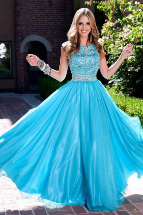 Popular Blue Modest Prom Dresses with Scoop Neck Crystal Beads New Designer Cheap Summer Sleeveless Women Evening Gowns ,Custom Made,Party Gown,Evening Dress
