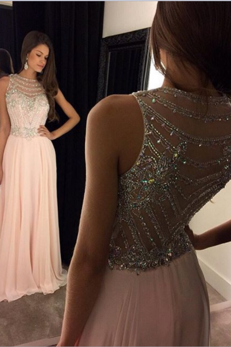 Beaded Prom Dress,A-Line Prom Dress,Pink Prom Dress,Fashion Prom Dress,Cheap Party Dress,