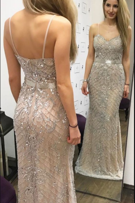 Mermaid Spaghetti Straps Floor-Length Champagne Prom Dress with Beading,Cheap Prom Dress ,Long Evening Dress,Custom Made,,Party Gown