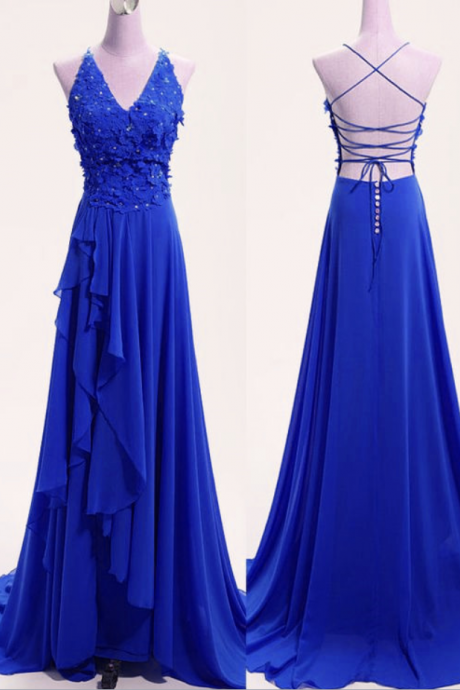 High Quality Blue Chiffon V-neckline Party Dress, Blue Formal Dress, Party Dress