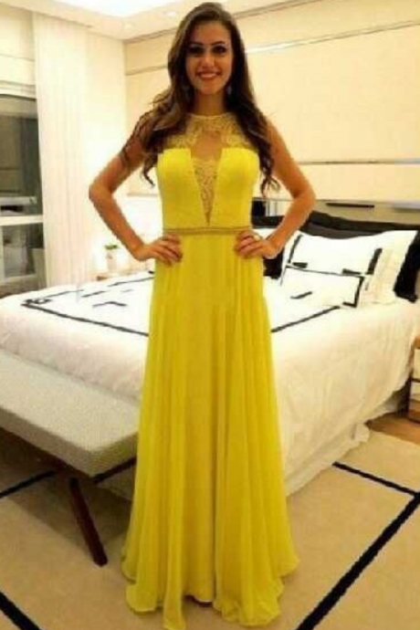 Charming Prom Dress,Long Prom Dresses,Yellow Chiffon Prom Dress,Formal Evening Dress,Prom Party Dress,High Quality Graduation Dresses,Wedding Guest Prom Gowns