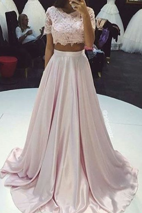 Two Pieces Prom Dress,A Line Prom Dresses,Lace Prom Dress,Fashion Prom Dress,Sexy Party Dress, New Style Evening Dress