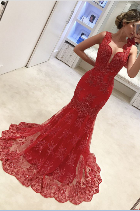 Cheap prom dresses ,Red Evening Dress, Mermaid Evening Dress, Lace Applique Evening Dress