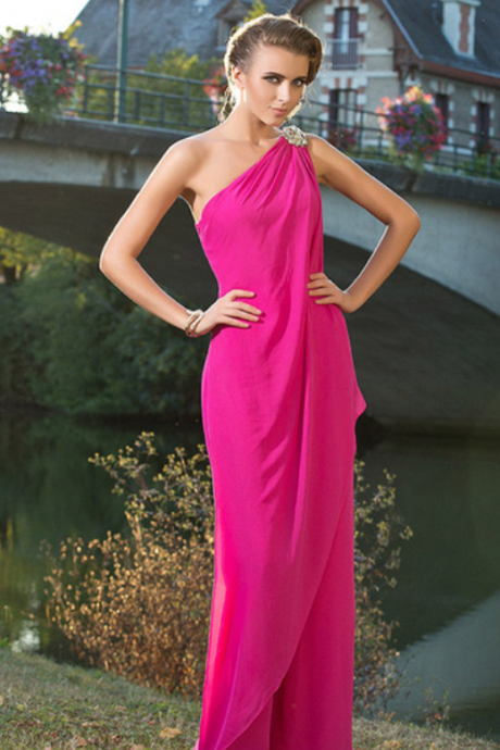 Couture Sheath / Column Jumpsuit One Shoulder Floor Length Chiffon Formal Evening / Wedding Party Dress with Beading Side