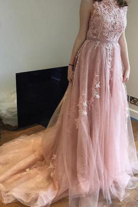 Blush Pink Prom Dress long with Appliques Sweep Train Evening Gown Tulle Zipper Back A-Line Women's Prom Dresses