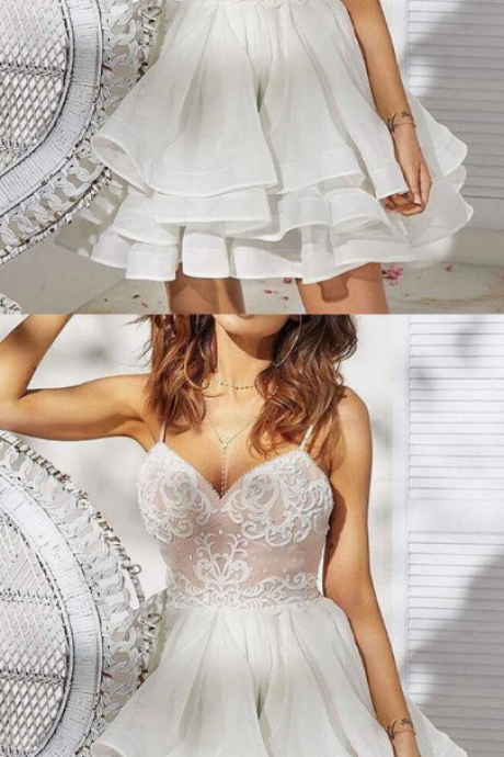 WHITE SWEETHEART NECK SATIN LACE SHORT PROM DRESS, WHITE HOMECOMING DRESS
