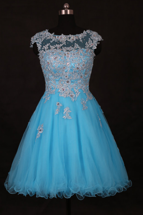 Amazing Lace Applique Blue Short Prom Dress, Blue Graduation Dress,Short Prom Dresses,Short Dress, Prom Dresses,Vintage Prom Dresses, Party Dresses, Homecoming Dresses