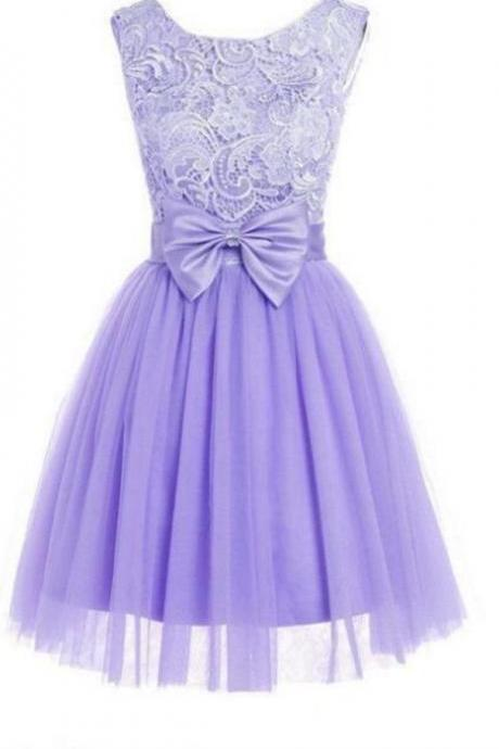 Cute Lavender Short Tulle Lace Homecoming Dresses with Bow, Cute Homecoming Dresses, Lavender Party Dresses, Evening Dresses