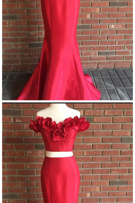 Two Piece Long Prom Dress, Two Piece Red Prom Dress