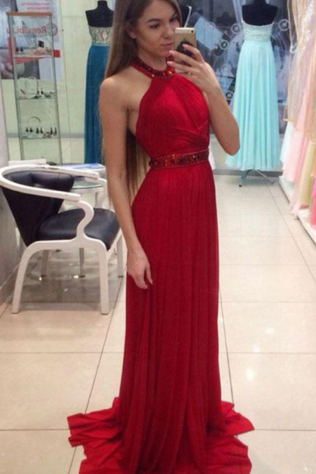 Red Halter Elegant Prom Dress,Long Prom Dresses,Prom Dresses,Evening Dress, Evening Dresses,Prom Gowns, Formal Women Dress